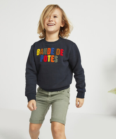 Nouvelle collection Rayon - LE SWEAT BANDE DE POTES MARINE EN COTON BIOLOGIQUE