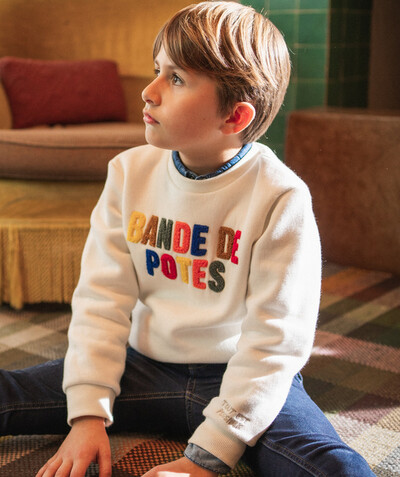 Nouvelle collection Rayon - LE SWEAT BANDE DE POTES BLANC EN COTON BIOLOGIQUE