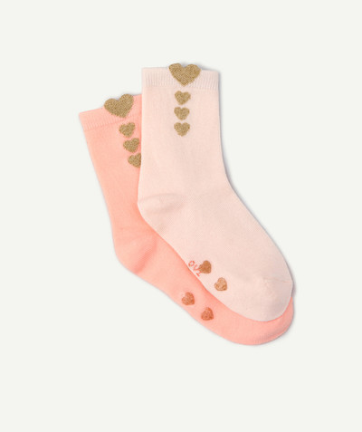 All Collection radius - TWO PAIRS OF PINK SOCKS WITH GOLDEN HEARTS