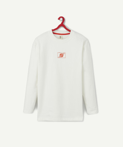 T-shirt radius - WHITE SWEATSHIRT-STYLE T-SHIRT IN ORGANIC COTTON WITH CONTRASTING FLOCKING