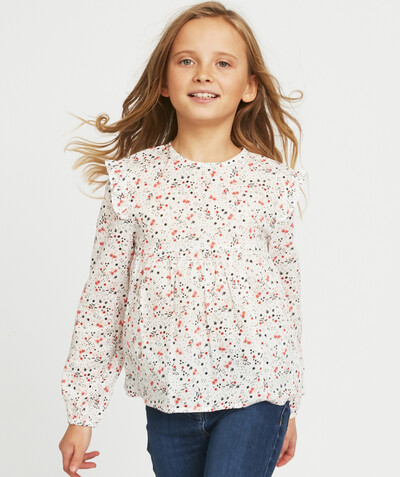 Shirt - Blouse radius - WHITE FLOWER-PATTERNED BLOUSE