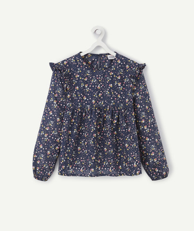 Shirt - Blouse radius - BLUE FLOWER-PATTERNED BLOUSE