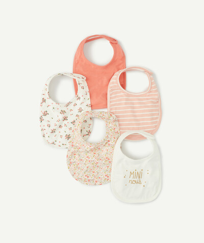 ECODESIGN radius - PACK OF FIVE CORAL BIBS IN ORGANIC COTTON