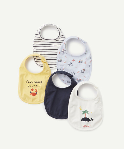 Newborn Boy radius - FIVE SEASIDE THEMED BIBS IN ORGANIC COTTON
