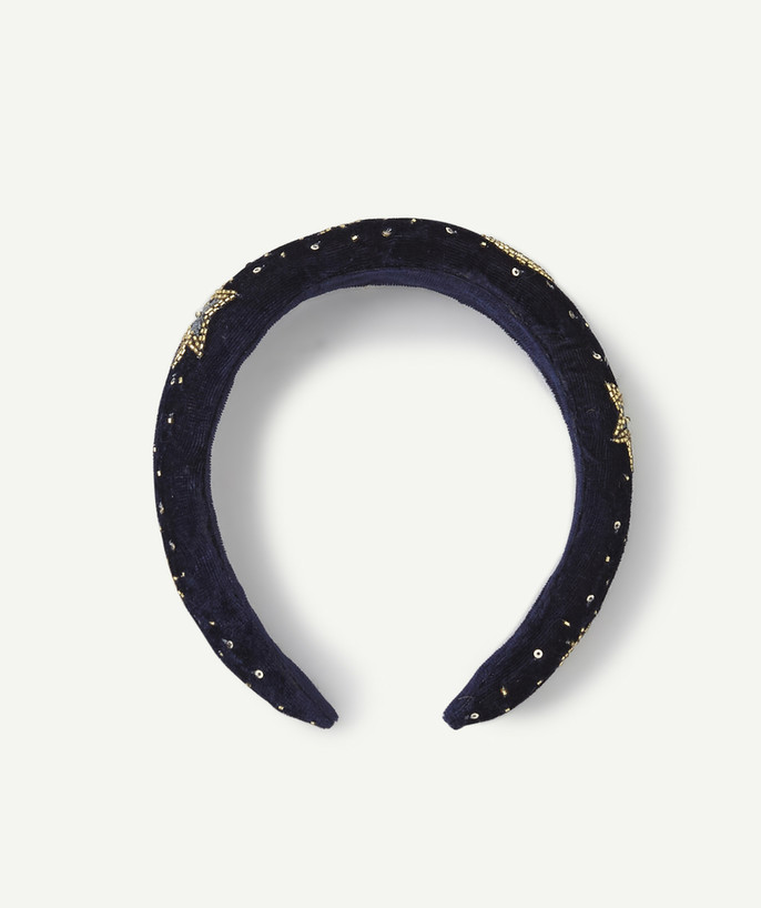 Outlet radius - MIDNIGHT BLUE VELVET HEADBAND WITH GOLDEN SEQUINS