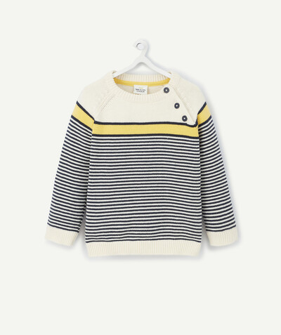 All collection radius - CREAM, YELLOW AND NAVY BLUE STRIPED KNITTED JUMPER