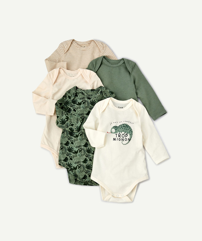 Essentials : 50% off 2nd item* family - PACK OF FIVE JUNGLE BODIES IN ORGANIC COTTON