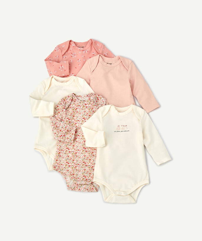 Essentials : 50% off 2nd item* family - PACK OF FIVE FLOWER-PATTERNED BODIES IN ORGANIC COTTON