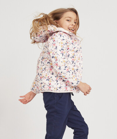 All Collection radius - LIGHT AND WATER-REPELLENT PINK FLOWER-PATTERNED PADDED JACKET