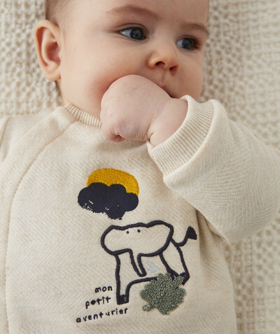 Newborn Boy radius - LINED SWEATSHIRT IN ORGANIC COTTON WITH POPPER FASTENING THE FRONT.