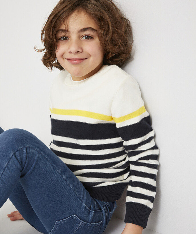 Basics radius - CREAM, NAVY BLUE AND YELLOW STRIPED KNITTED JUMPER