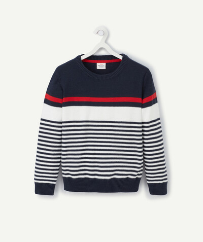 Pullover - Cardigan radius - NAVY BLUE, WHITE AND RED STRIPED KNITTED JUMPER