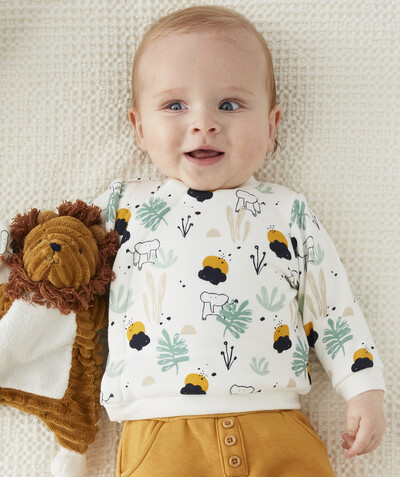 Newborn Boy radius - CREAM PRINTED SWEATSHIRT WITH A BUILT-IN FASTENING