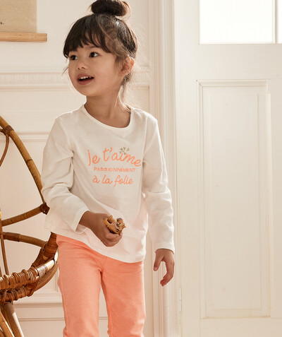 Nightwear radius - WHITE AND SALMON PYJAMAS IN ORGANIC COTTON