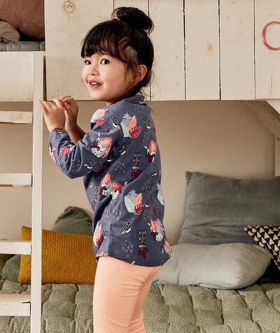 Nightwear radius - BLUE FLOWER-PATTERNED PYJAMAS IN ORGANIC COTTON