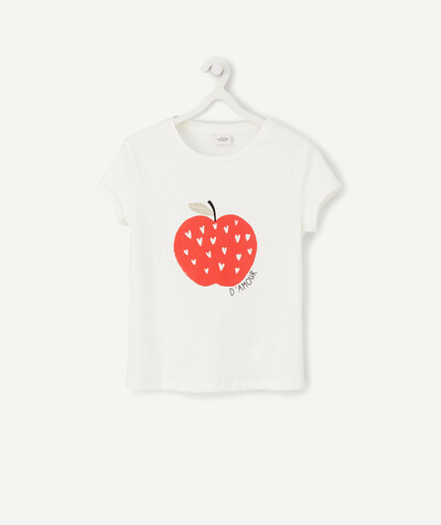 ECODESIGN radius - WHITE LOVE APPLE T-SHIRT IN ORGANIC COTTON