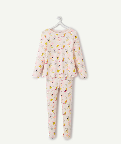 Nightwear radius - PINK FLOWER-PATTERNED PYJAMAS IN ORGANIC COTTON