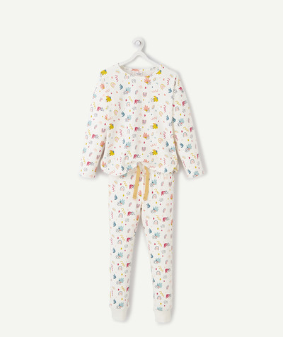 Nightwear radius - WHITE PYJAMAS IN ORGANIC COTTON WITH COLOURED MOTIFS