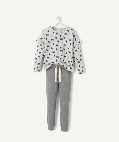 All Collection radius - GREY PYJAMAS IN ORGANIC COTTON WITH A PRINTED CAT DESIGN