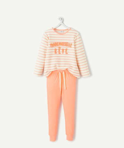 Nightwear radius - ORANGE AND CREAM PYJAMAS IN ORGANIC COTTON