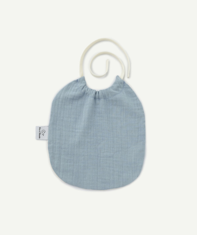 Newborn Boy radius - PAIN D'ALOUETTE® - BIB IN PALE BLUE COTTON CHEESECLOTH