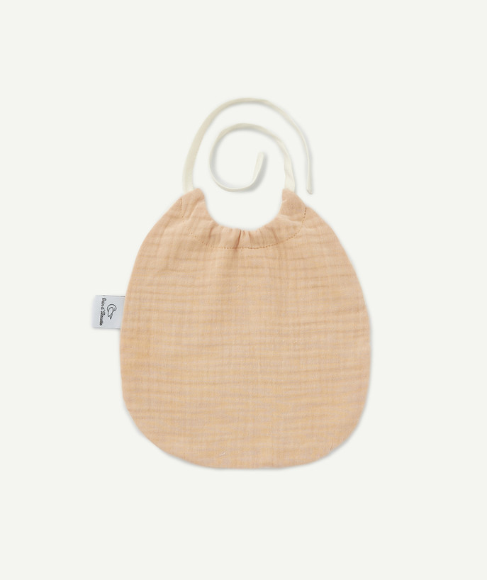 Newborn Boy radius - PAIN D'ALOUETTE® ® BIB IN ORANGE COTTON CHEESECLOTH