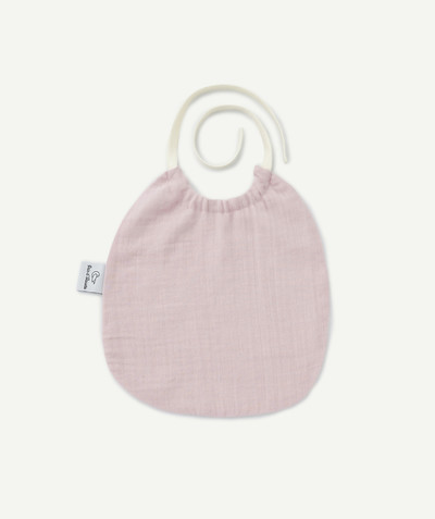 All accessories radius - PAIN D'ALOUETTE® ® BIB IN PINK COTTON CHEESECLOTH
