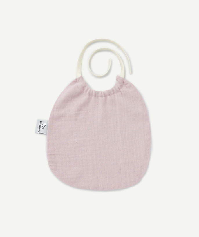 Newborn Boy radius - PAIN D'ALOUETTE® ® BIB IN PINK COTTON CHEESECLOTH