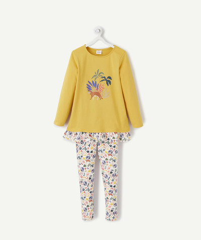 Nightwear radius - YELLOW PYJAMAS IN ORGANIC COTTON WITH JUNGLE MOTIFS