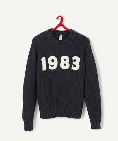 Outlet radius - NAVY BLUE KNITTED JUMPER WITH DATE PATCH