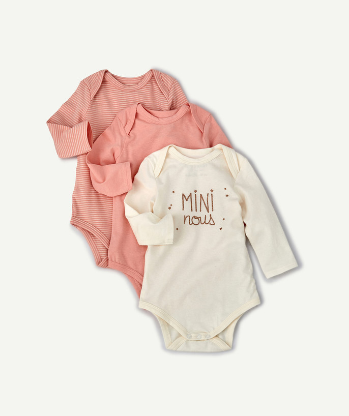 Bodysuit radius - THREE PINK BODIES IN ORGANIC COTTON