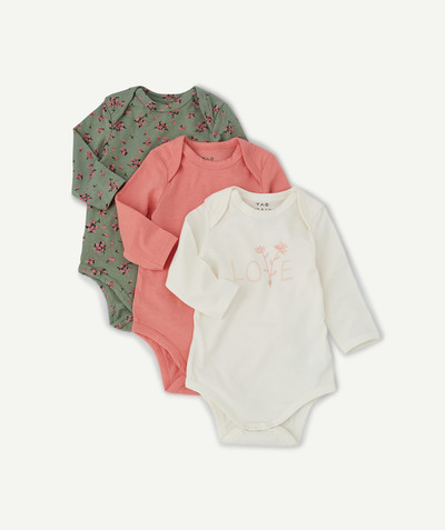 Collection ECODESIGN Rayon - LES 3 BODIES KAKI ROSES ET BLANCS EN COTON BIOLOGIQUE