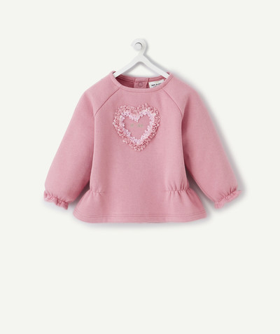 New collection radius - PINK ORGANIC COTTON SWEATSHIRT WITH A HEART IN RELIEF