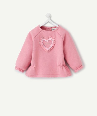 ECODESIGN radius - PINK ORGANIC COTTON SWEATSHIRT WITH A HEART IN RELIEF