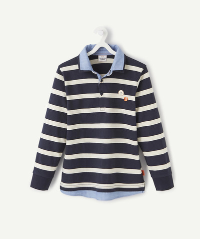Shirt - Polo radius - STRIPED TWO-IN-ONE EFFECT POLO SHIRT