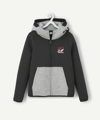 Outlet radius - ZIPPED HOODED SWEATSHIRT IN GREY AND BLACK FLEECE