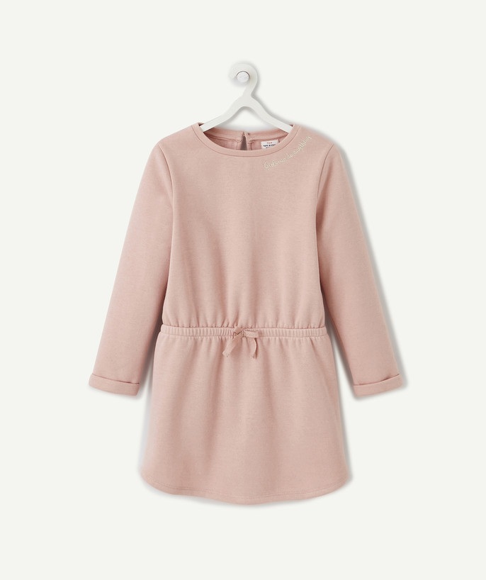 Outlet radius - DRESS IN SPARKLING POWDER PINK FLEECE