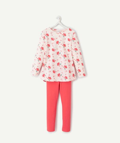Nightwear radius - RASPBERRY AND PINK FLOWER-PATTERNED PYJAMAS IN ORGANIC COTTON