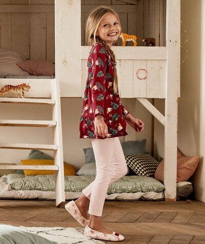 Nightwear radius - VIOLET TUNIC TOP PYJAMAS IN ORGANIC COTTON WITH A TROPICAL PRINT