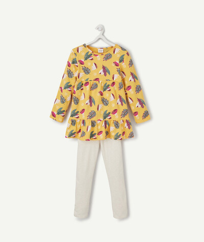 Nightwear radius - YELLOW PRINT AND CREAM PYJAMAS IN ORGANIC COTTON