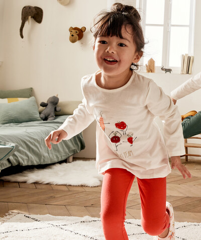 Nightwear radius - CREAM AND RED PYJAMAS IN ORGANIC COTTON