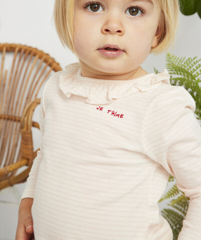 All collection radius - PINK STRIPED T-SHIRT IN ORGANIC COTTON WITH A FRILLY NECK