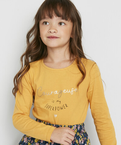 ECODESIGN radius - MUSTARD T-SHIRT IN ORGANIC COTTON WITH A SPARKLING MESSAGE