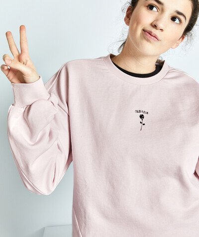 Ado Fille Sous Rayon - LE SWEAT OVERSIZE EN MOLLETON ROSE