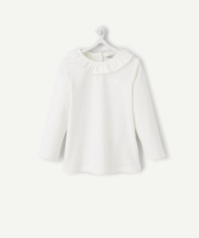 ECODESIGN radius - WHITE T-SHIRT IN ORGANIC COTTON WITH A FRILLY NECK