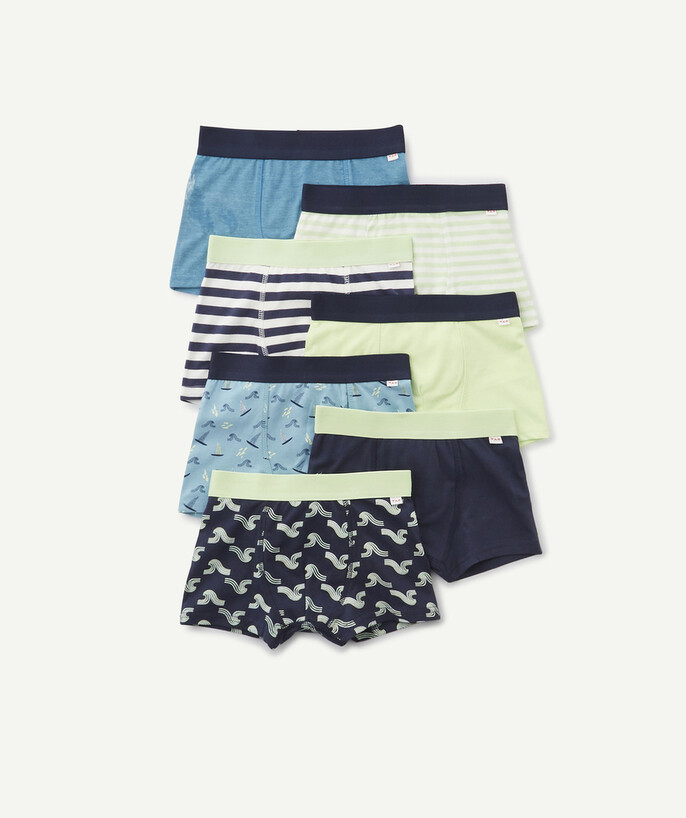 Underwear radius - PACK OF SEVEN GREEN AND BLUE BOXER SHORTS IN ORGANIC COTTON