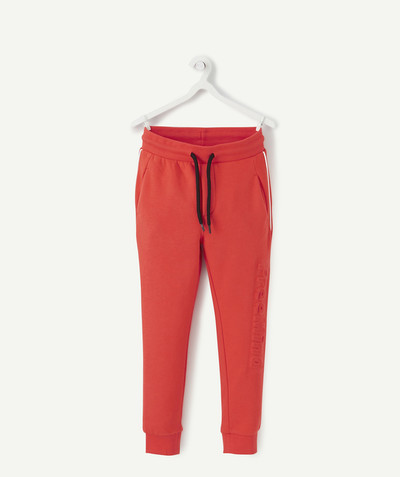 Comfortable fleece radius - RED JOGGING PANTS IN ORGANIC COTTON
