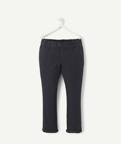Trousers size + radius - SIZE+ NAVY BLUE SLIM PIQUE TROUSERS