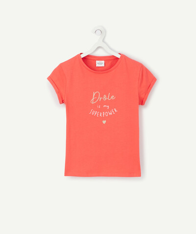 Basics radius - CORAL T-SHIRT IN ORGANIC COTTON WITH A SPARKLING MESSAGE