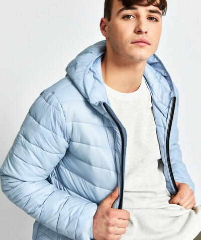 Sportswear radius - LIGHT AND WATER-REPELLENT BLUE PADDED JACKET IN RECYCLED FIBRES